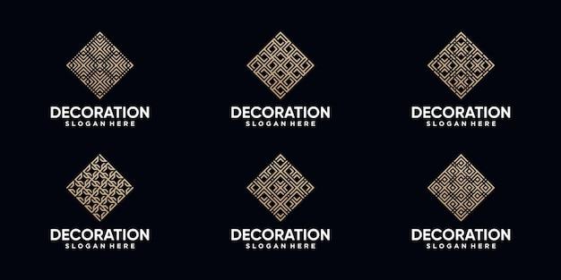 Zestaw projektu logo dekoracji w stylu sztuki linii i złotym kolorze