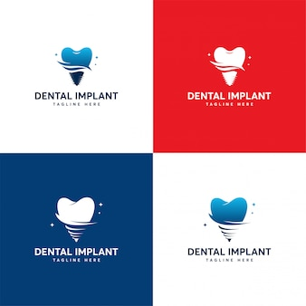 Zestaw projektu logo dental implant, szablon logo dental care