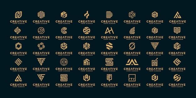 Zestaw projektu logo firmy monogram az inspiracji.