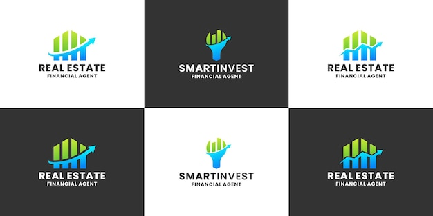 Zestaw projektu logo inteligentnego inwestowania dla firmy finansowo-księgowej