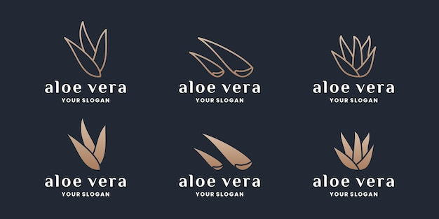 Zestaw projektu logo kolekcji aloe vera w złotym kolorze