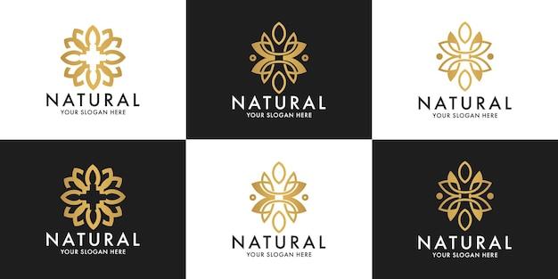 Zestaw projektu logo kwiatu urody dla zdrowia i urody