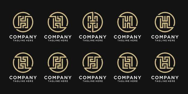 Zestaw projektu logo litera h monogram dla biznesu