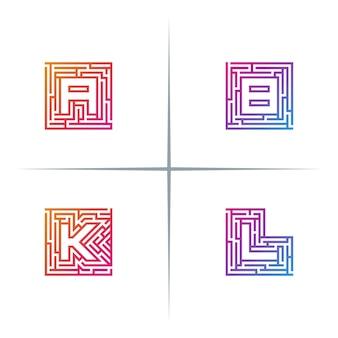 Zestaw projektu logo litery alfabetu labirynt