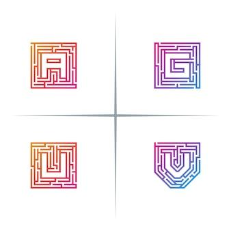 Zestaw projektu logo litery maze