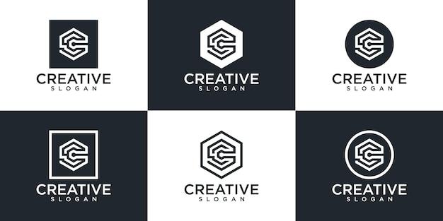 Zestaw projektu logo monogram litera c