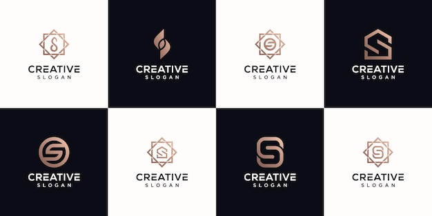 Zestaw projektu logo monogram litera s premium vektor