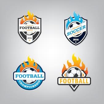 Zestaw projektu logo piłki nożnej