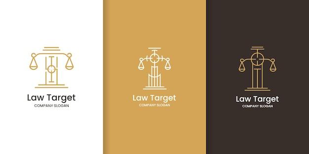 Zestaw projektu logo prawa docelowego, cel bieguny