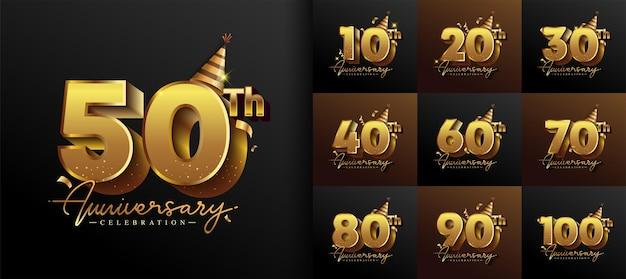 Zestaw projektu logo rocznicy z złotym kolorem pisma na uroczystość, ślub, kartkę z życzeniami i zaproszenie. ilustracja wektorowa.