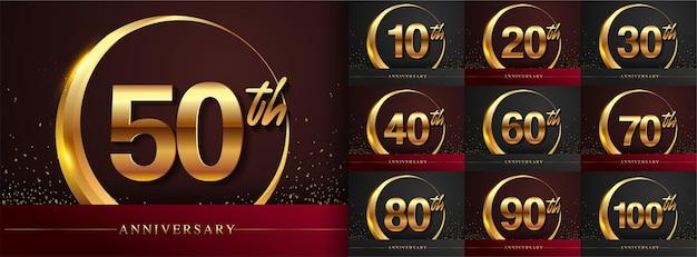 Zestaw projektu logo rocznicy ze złotym pierścieniem i złotym kolorem pisma ręcznego na uroczystość, ślub, kartkę z życzeniami i zaproszenie. ilustracja wektorowa.