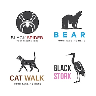 Zestaw projektu logo zwierząt