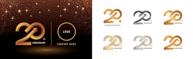 Zestaw projektu logotypu 20. rocznica, obchody dwudziestolecia rocznicy