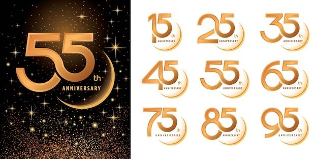 Zestaw projektu logotypu logo anniversary, obramowanie celebrate anniversary logo na świętowanie