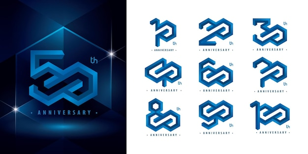 Zestaw projektu logotypu od 10 do 100 rocznicy logo hexagon infinity streszczenie blue emboss hexagon logo