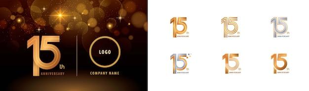 Zestaw projektu logotypu z okazji 15-lecia, piętnaście lat świętuj logo rocznicy, wiele linii.