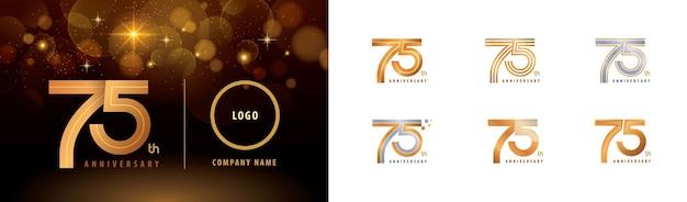 Zestaw projektu logotypu z okazji 75-lecia, siedemdziesiąt pięć lat wieloliniowe logo celebrate anniversary logo