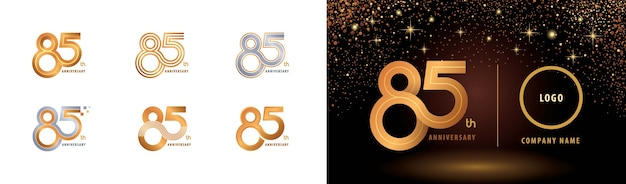 Zestaw projektu logotypu z okazji 85. rocznicy, osiemdziesiąt pięć lat, wiele linii logo celebrate anniversary