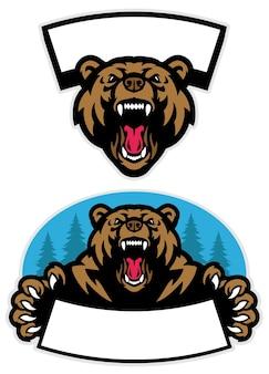 Zestaw projektu maskotki niedźwiedzia grizzly