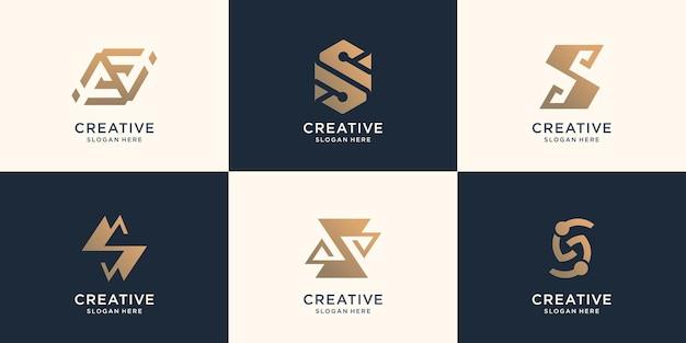 Zestaw projektu monogram logo s kolekcji. ikony dla biznesu luksusu, eleganckiej, abstrakcyjnej koncepcji.