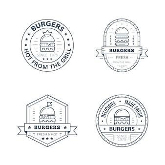 Zestaw projektu odznaka hamburgery na białym tle