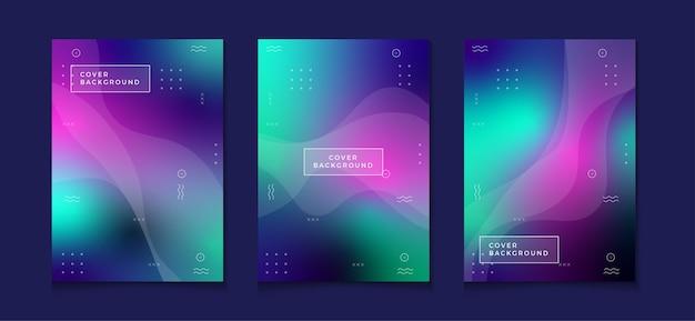 Zestaw projektu okładki streszczenie kolorowe książki