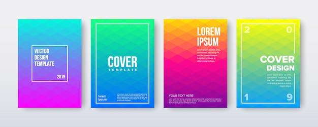 Zestaw projektu okładki z gradientowym minimalnym geometrycznym szablonem tytułu