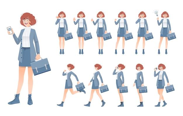 Zestaw Projektu Postaci Kobiety Biznesu Premium Wektorów
