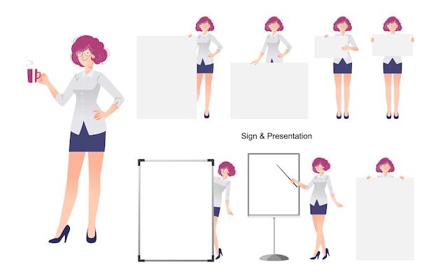 Zestaw projektu postaci kobiety biznesu