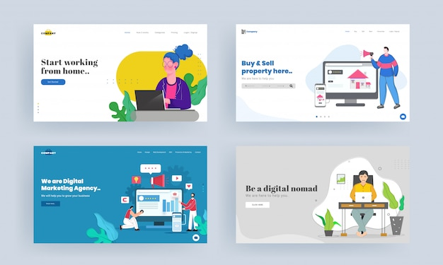 Zestaw projektu strony docelowej dla rozpocznij pracę z domu, kup i sprzedaj nieruchomość, bądź cyfrowym nomadem, koncepcja cyfrowej agencji marketingowej.