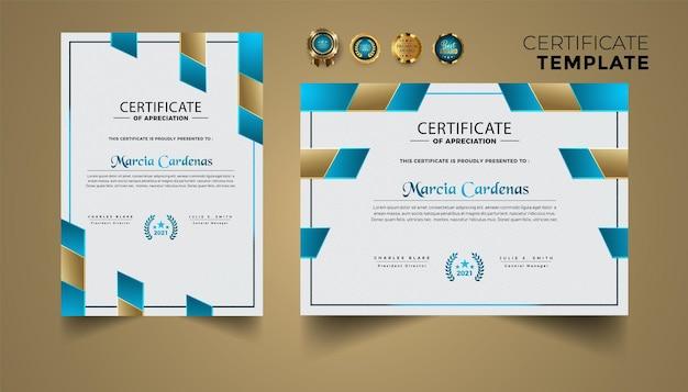 Zestaw projektu szablonu certyfikatu o złotych nowoczesnych kształtach