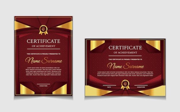 Zestaw projektu szablonu certyfikatu z czerwonymi i luksusowymi nowoczesnymi kształtami