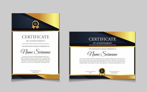Zestaw projektu szablonu certyfikatu z granatowymi i luksusowymi nowoczesnymi kształtami