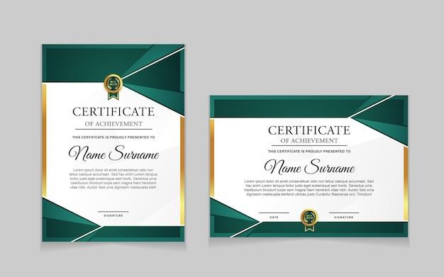 Zestaw projektu szablonu certyfikatu z zielonymi i luksusowymi nowoczesnymi kształtami