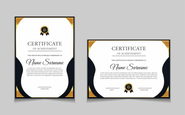 Zestaw projektu szablonu certyfikatu ze złotymi luksusowymi nowoczesnymi kształtami