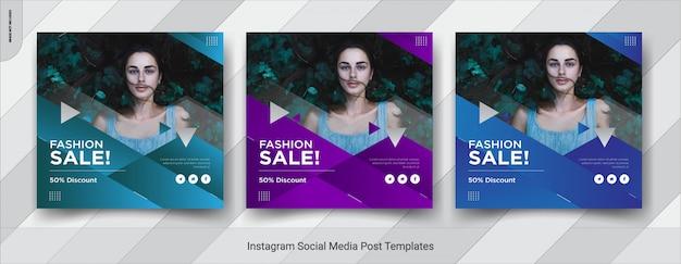 Zestaw projektu szablonu fashion-insta post w mediach społecznościowych