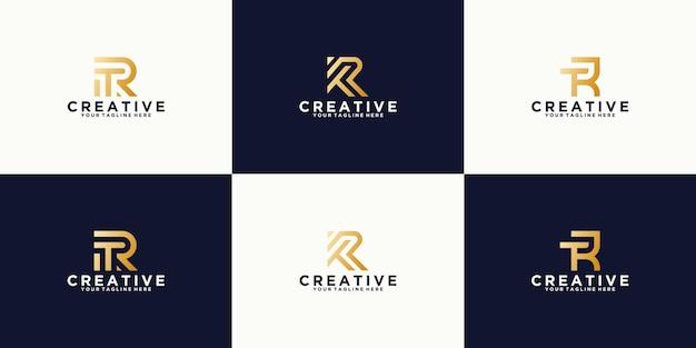 Zestaw projektu szablonu monogram litera r
