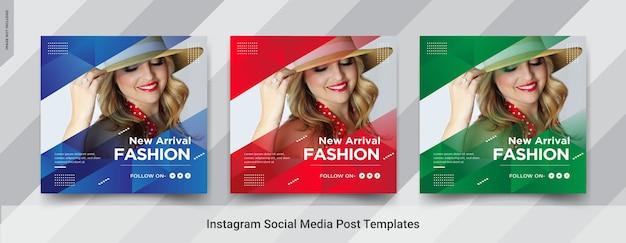 Zestaw projektu szablonu postu w mediach społecznościowych fashion insta