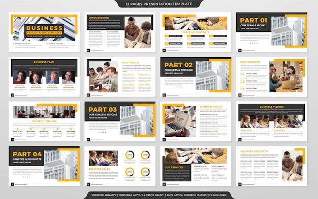 Zestaw projektu szablonu układu prezentacji biznesowej w minimalistycznym i nowoczesnym stylu