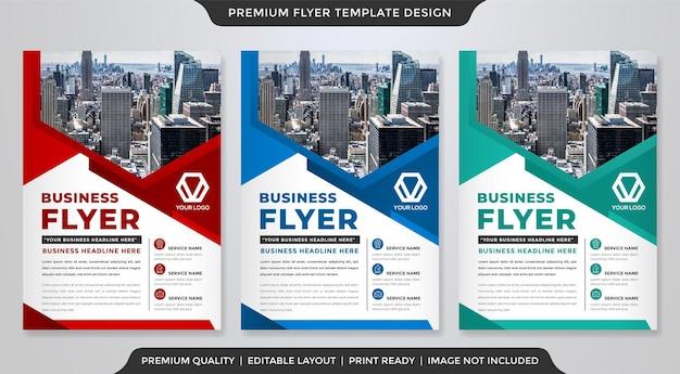 Zestaw projektu szablonu ulotki biznesowej a4 z abstrakcyjnym stylem i nowoczesnym układem