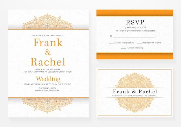 Zestaw projektu szablonu zaproszenia ślubne w eleganckim stylu