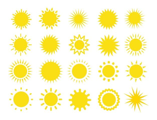 Zestaw promieni słonecznych. kolekcja znak słońca.