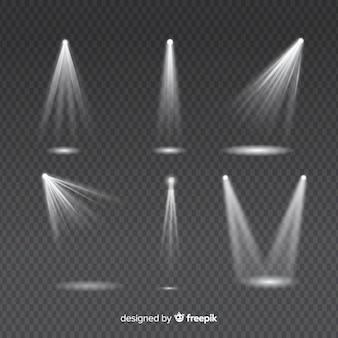 Zestaw promieni świetlnych do białego oświetlenia na przezroczystym oświetleniu