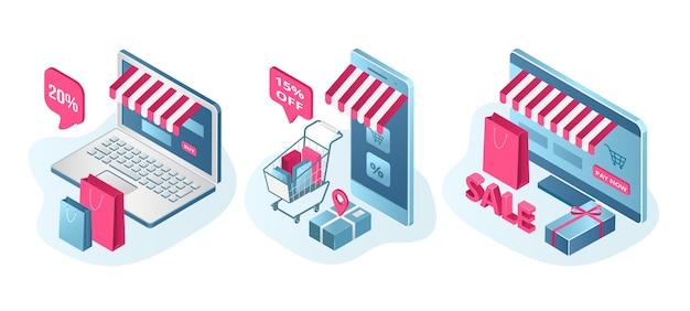 Zestaw promocji sprzedaży sklepu na białym tle. ceny obniżone, oferta rabatowa. rozpoczęcie wyprzedaży dla sklepu internetowego, handlu elektronicznego. ekran laptopa z koszykiem i sprzedażą w sklepie internetowym.