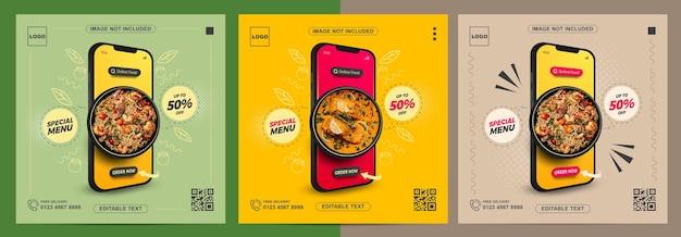 Zestaw promocji żywności online za pomocą telefonu komórkowego na post w mediach społecznościowych