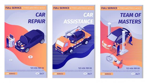 Zestaw promocyjnego pionowego szablonu banera dla serwisu samochodowego