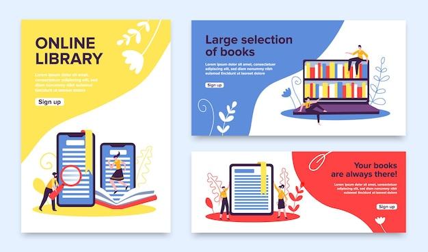 Zestaw promocyjny biblioteki online z przyciskami rejestracji, półkami na książki i gadżetami