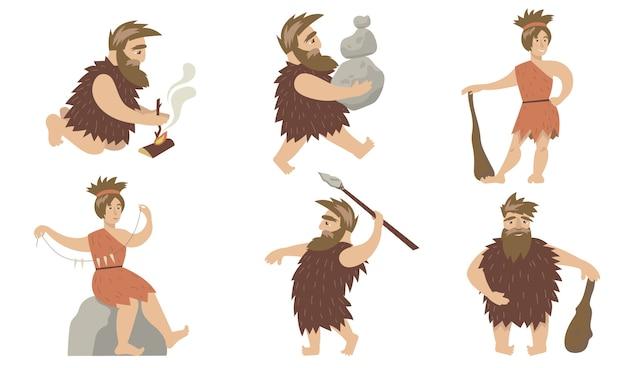 Zestaw promocyjny ludzi jaskiniowych. starożytni mężczyzna i kobieta kontrolujący ogień, niosący kamienie, polujący z włóczniami i pałką. dla ludzi prymitywnych antropologia, okres prehistoryczny