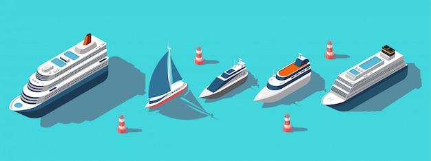 Zestaw promów izometrycznych, jachtów, łodzi, statków pasażerskich