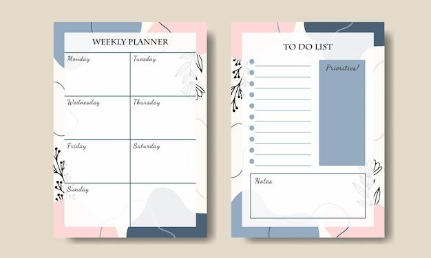 Zestaw prostego abstrakcyjnego tygodniowego terminarza szablonów listy zadań